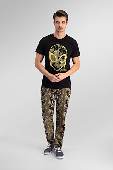Spider-Man Spider Man Lisanslı Açık Haki Erkek Pijama Takımı Siyah